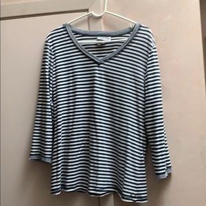 Hot Cotton 3/4 sleeve navy/white striped top